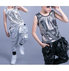Black white silver sequins glitter fashion boys kids children school stage performance jazz hip hop dance outfits costumes