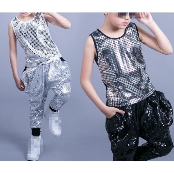Black White Silver Sequins Glitter Fashion Boys Kids