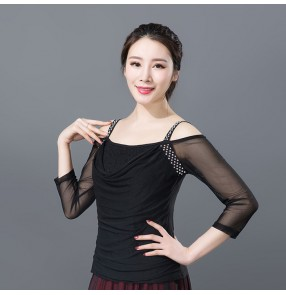 Black white slash neck dew shoulder middle long sleeves women's ladies competition performance latin ballroom dancing tops blouses shirts