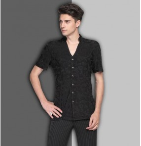 Black white v neck short sleeves competition men's male latin ballroom dance shirts tops