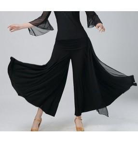 Black wide legs women's competition exercises practice square dance ballroom waltz tango dancing pants trousers