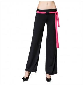 Black with fuchsia  sashes women's ladies gymnastics performance ballroom latin dance pants trousers