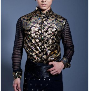 Black with gold floral pattern striped sleeves fashion men's male competition performance jazz singers hip hop dance shirt tops