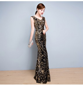Black with gold sequins bling Robe De Soiree Mermaid Long Evening Dress Party Elegant Vestido De Festa Long Prom Gown