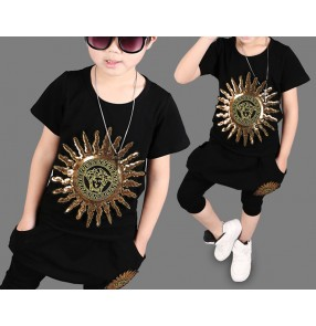 Black with gold sequins embroidery pattern boys jazz singers school competition hip hop sports casual dancing outfits