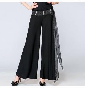 Black with sashes women's long length wide leg ballroom waltz latin salsa dance pants trousers