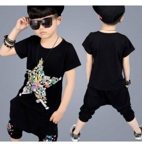 Black with star printed fashion boys toddlers summer sports performance jazz hip hop dance tops harem pants outfits