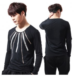 Black with striped rhinestones glitter long sleeves performance competition men's male dj jazz singers hip hop dancers tops t shirts
