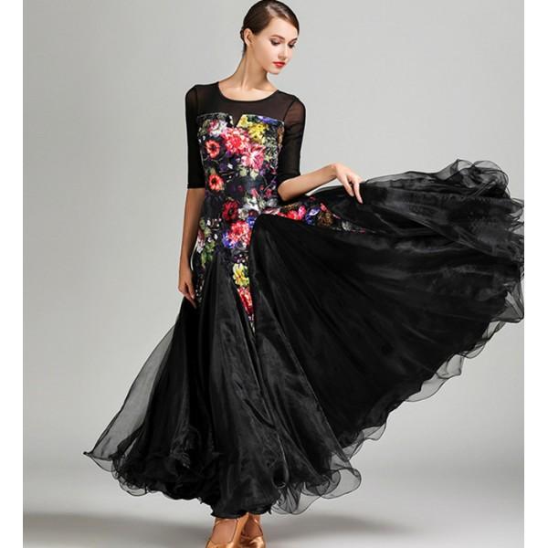 77f8064684c05 Black with velvet flowers Ballroom Dance Dresses Standard Stage Costume  Performance Women Smooth Ballroom Dress Modern Waltz Tango Dress