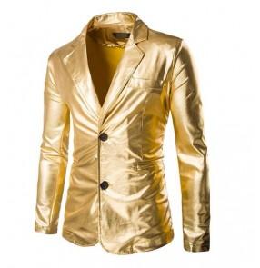Blazer Mens Night Club Stage Men Gold Silver Suit Halloween Jacket Fashion Singer Suit Costume Slim Fit Host Clothing For Men