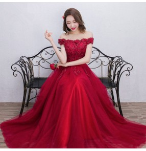 Bling wine Red Evening Dresses Long Dew shoulder Applique Beaded Floor Length Saudi Arabic Evening Gowns Women Formal Dresses