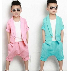 Blue pink boys toddlers kindergarten modern dance stage performance school play show hip hop dance outfits costumes set