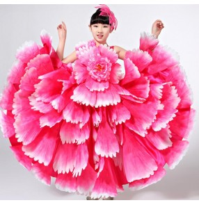 Blue red fuchsia yellow gold petals competition girls kids school performance flamenco chorus Spanish bull dance dresses