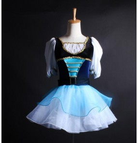 Blue royal blue white patchwork velvet palace England style short sleeves competition ballet tuttu skirt dance dresses