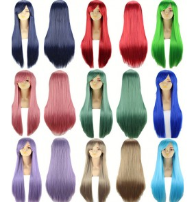 Blue silver white black brown wine 80cm Long Wigs high temperature fiber Synthetic anime Wigs Costume Cosplay Wigs Party Wigs