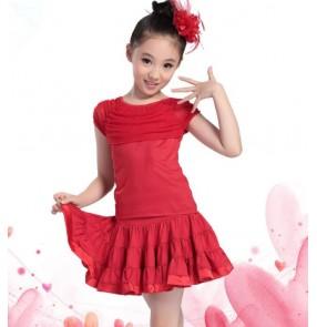 child Black and red  Latin Dance Ballroom Girls Samba salsa dresses Costumes Children tango dress for kids latino cha cha
