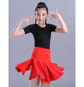 Child Kid Children black and red gymnastics Latin Dance Dress For Girls Samba Stage Dress Dancing Dress Girl Latin Dancewear Performance  Costume
