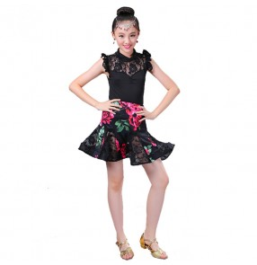 Child Latin Dance Dresses Kids Rose flowers Dance Costume Girl Modern Dance Dress Women Vestido Waltz Stage Dance Clothing
