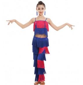child tassels Latin Dance Girls Samba salsa dresses performance Costumes Children for kids latino cha cha layers tassels tops pants