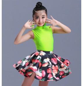 Children girl kids Latin Dance Dresses Rose neon green Vestido Baile Latino Latin Girl gymnastics Dance Dress Costume For Dance
