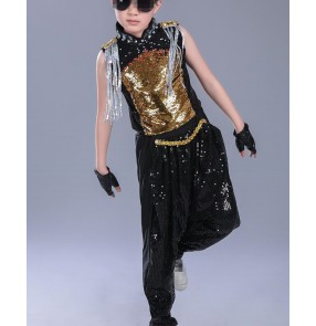Children Sets  Boy Black gold sequins paillette Jazz Hip Hop Modern Dancewear Set Kid Dance Costume Short Sleeve Top & Pants