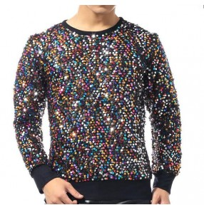 Colorful colored sequins glitter men's male jazz singers night club bar hip hop dancers performance t shirts tops