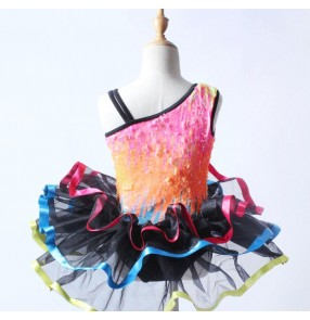 Colorful sequins colored one shoulder modern dance girls kids children performance tutu skirt ballet dance outfits dresses