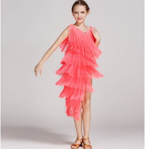 Coral neon green turquoise yellow light pink fringes girls kids children performance competition salsa cha cha dance dresses