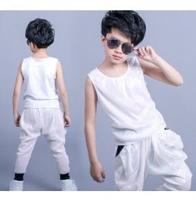 Cream white sequins glitter performance boys jazz singers dancers competition hip hop dance outfits vest harem pants