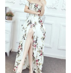 Dew shoulder  vintage pattern fashion   women's  Maxi beach dresses vestidos
