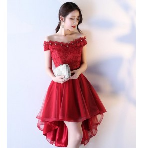 Elegant Crystal Beaded Red wine Lace Mermaid Long Evening Dresses  Prom Party Dress Robe De Soiree courte longueur