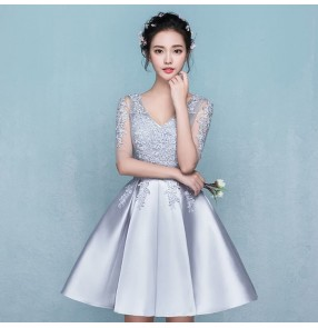 Evening dress Silver short design the banquet dress one-piece dress V-neck plus size women short evening dresses
