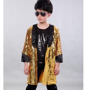Fashion Children Gold sequins paillette Jazz Dance Clothing Boys Street Dance Hip Hop Dance coats Kids show Performance tops