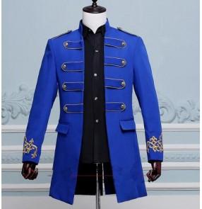 fashion men costume long jacket blazer Male groom prom clothes singer dancer star performance nightclub bar wedding party Coats