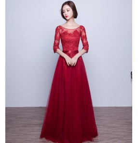 fashion wine red lace evening dress new Half sleeves appliques lace women formal gown for prom party vestido festa