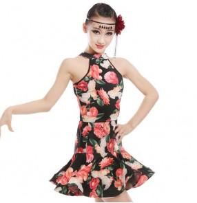 Floral printed halter neck competition performance girls kids children latin salsa dance dresses costumes