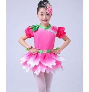 Fuchsia hot pink gradient colored girls kids children petal performance jazz singers dancers dresses outfits