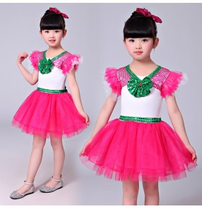 Fuchsia hot pink green sequins patchwork girls princess modern dance jazz singers dancers performance dresses