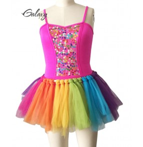 Fuchsia hot pink rainbow colored tutu skirt girls kids children modern dance ballet leotards dance dresses