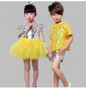Fuchsia hot pink yellow gold purple violet silver sequins girls boys school competition jazz singers hip hop dance outfits