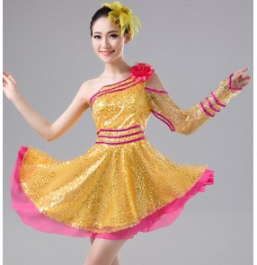 Fuchsia hot pink yellow gold sequins paillette modern dance women's ladies singers ds dj night club jazz pole dance performance dresses