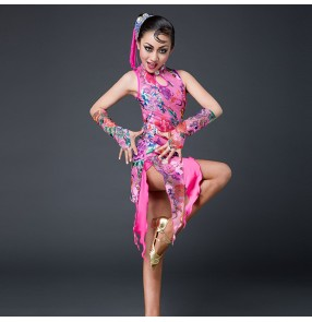Fuchsia hot pink yellow printed floral fringes competition personality girls kids latin dance dresses costumes