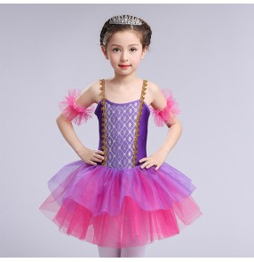 Fuchsia purple patchwork dew shoulder girls princess modern dance tutu skirt ballet dance dresses
