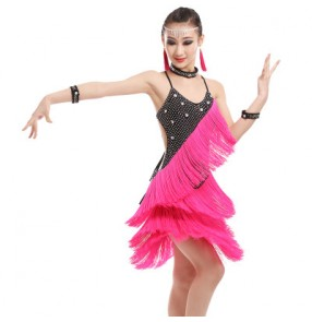 Fuchsia red white rhinestones handmade competition girls kids children fringes latin ballroom dance dresses