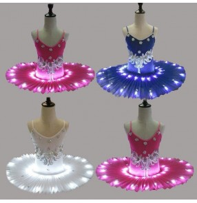 Fuchsia royal blue white led light tutu skirt girls competition rehearsal performance pancake ballet dance leotards dresses
