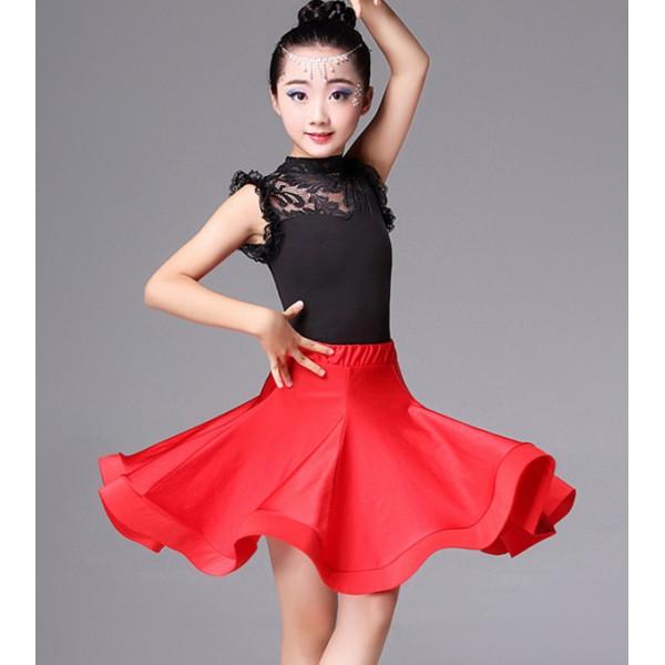 1788453515 Girls Red Latin Salsa Ballet Dance costumes dress Kids Party Dancewear dress Lace  Latin Dance Dress