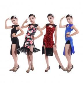 Girl leopard royal blue rose Latin Dance Dress Children Ballroom Dance Dresses Kids Salsa Rumba Cha Cha Samba Tango Dress