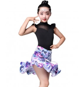 Girl Long Sleeves Sleeveless floral printed Latin Dance Dress Children Dance Dresses Kids Salsa Rumba Cha Cha Samba Tango Dress