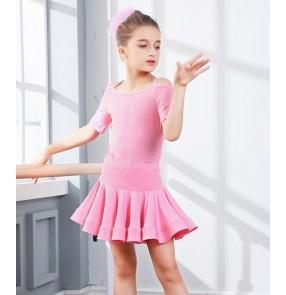 Girl  Short Sleeves Latin Dance Dress Children Ballroom Dance Dresses Kids Salsa Rumba Cha Cha Samba Tango Dress