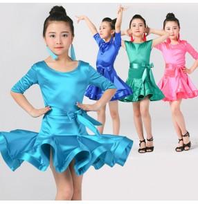 Girl  short Sleeves satin Latin Dance Dress Children Ballroom Dance Dresses Kids Salsa Rumba Cha Cha Samba Tango Dress
